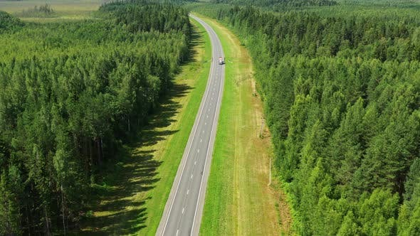 Cover Image for Aerial Top View on Country Road in Forest
