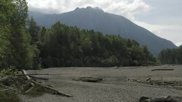 Thumbnail for Summer View Of Mount Si And Dry Snoqualmie River Bed With Water Flow Slowed To A Trickle