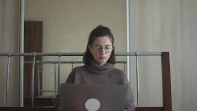 Woman Working From Home Online