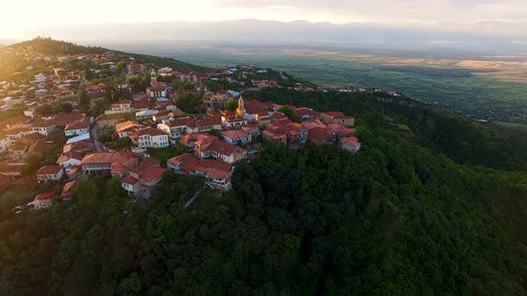 Thumbnail for View of Cozy Houses and Main Square in Sighnagi Town at Sunset