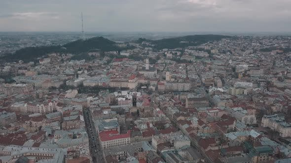 Thumbnail for Aerial City Lviv, Ukraine. European City. Popular Areas of the Town
