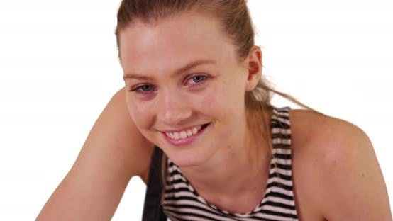 Thumbnail for Cheerful young blonde woman looking at camera on copyspace