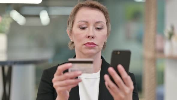 Thumbnail for Old Businesswoman Online Payment Failure on Smartphone