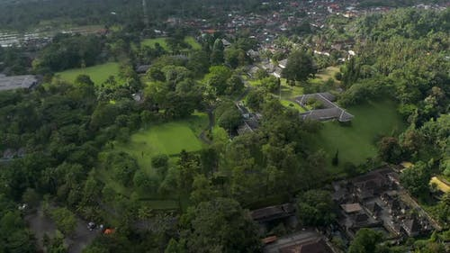 Aerial View of the Real Estate of Tampaksiring Presidential Palace Surrounded By Houses in the