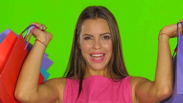 Thumbnail for Woman Had a Successful Shopping and Smiling, Green Screen