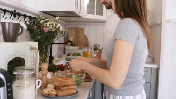 Thumbnail for Couple Making Salad in Morning