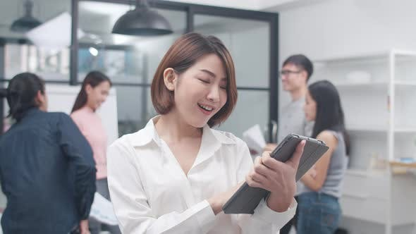 Business Women smart casual wear looking at camera and smile with table in modern office workplace