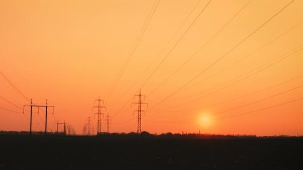 Thumbnail for High Voltage Power Lines At The Sunset Time 6