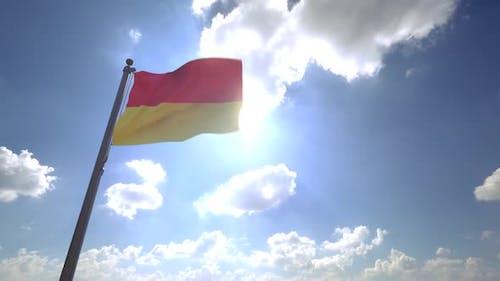 Pretoria City Flag on a Flagpole V4