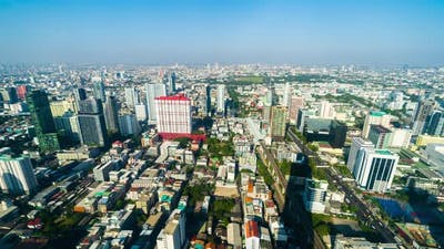 time lapse of Bangkok city downtown skyline of Thailand , Cityscape