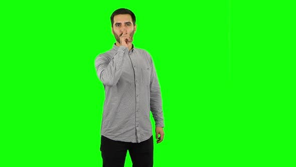 Thumbnail for Brunette Guy Looking Straight and Making Sign I Am Cool. Green Screen