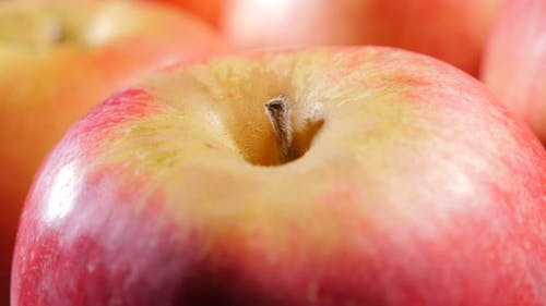 Fruit and food background of fresh apple  details on table slow panning 4K 2160p UltraHD footage - R