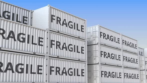 Containers with FRAGILE Text