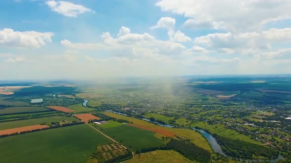 Beautiful natural landscape, Aerial view from the drone of landscape river