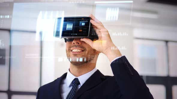 Thumbnail for Businessman with Vr Headset and Cube on Screen 105