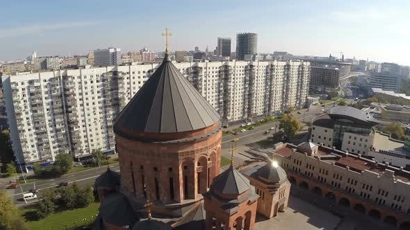 Flying Over Orthodox Church in the City - product preview 0