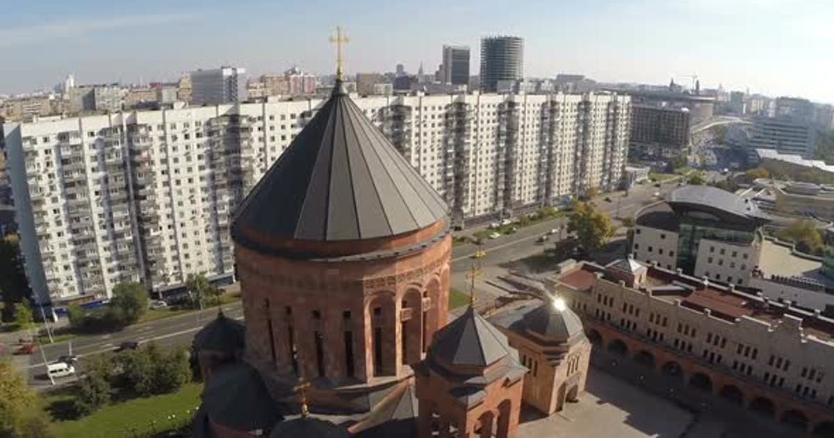 Flying Over Orthodox Church in the City