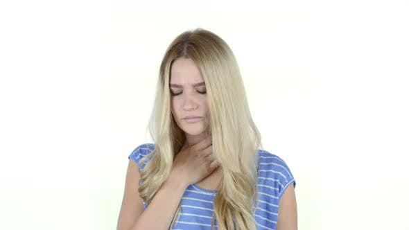 Thumbnail for Coughing, Girl Suffering From Cough, White Background