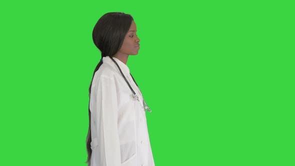 Sad African American Female Doctor Walking Hands Her Pockets Green Screen Chroma Key