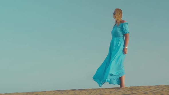 Thumbnail for Woman in Blue Dress on the Beach