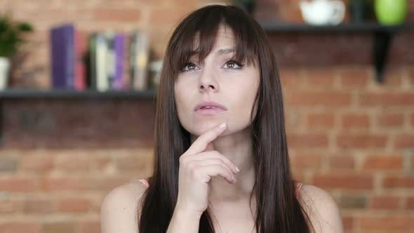 Thumbnail for Thinking, Portrait of Beautiful Brunette Woman, Indoor