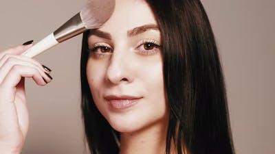 Makeup Artist Cosmetic Applying Woman Brush Skin