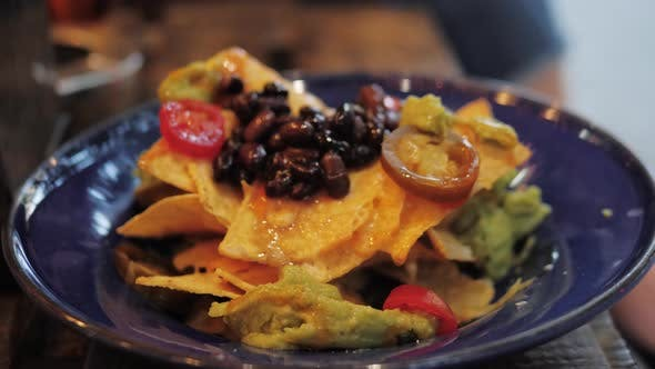 Thumbnail for Close-up of Plate Full of Nachos, Mexican Food