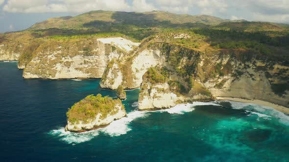 Thumbnail for Approaching Breathtaking Drone Shot Through the Cliff of Thousand Islands at Nusa Penida, Bali