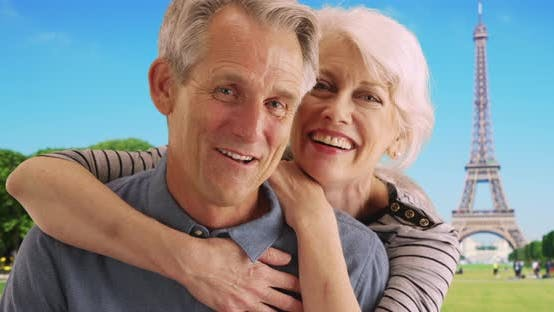 Thumbnail for Portrait of happy retired couple in Paris