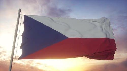 Flag of Czech Republic Waving in the Wind Against Deep Beautiful Sky