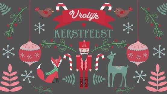 Thumbnail for Animation of Vrolijk Kerfees words with animals on Christmas decorations background