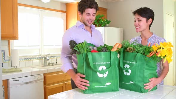 Multi-ethnic couple coming home with groceries