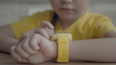 Kid Using Her Kids Smart Watch