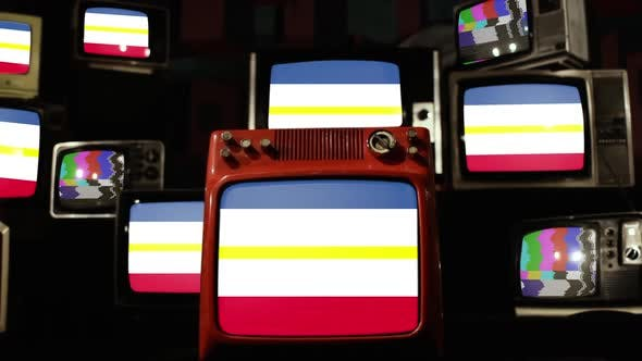 Thumbnail for Flag of Mecklenburg-Vorpommern, German State, On Retro TVs.