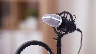 Headphones and Microphone at Home Office
