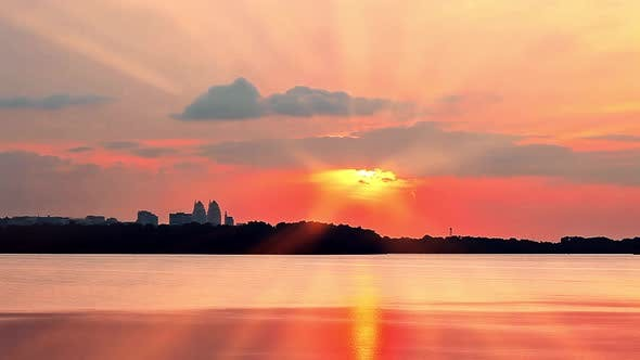 Thumbnail for Sunset Over the City. Sun Rays of Sunset.