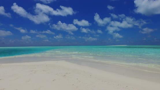 Thumbnail for Wide overhead clean view of a white paradise beach and aqua turquoise water background in high resol