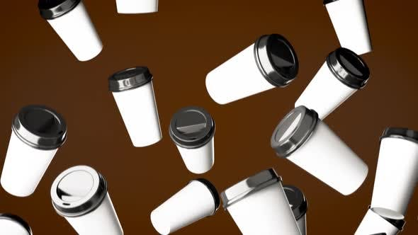 Thumbnail for Falling Disposable Beverage Cups On a Coffee Brown Background