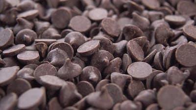 Dark chocolate chips rotate. Macro
