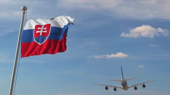 Thumbnail for Airliner Flying Above National Flag of Slovakia