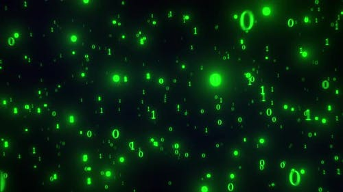 Binary Code 1 and 0 Flying Towards To Camera, Glowing Cyberspace Background
