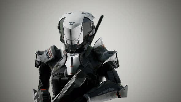 Futuristic Soldier in Steel Armor with the Cyber Punk Gun