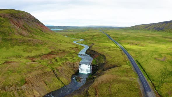 Flying Above the Thorufoss Waterfall in Iceland
