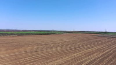 Agricultural plowed field.