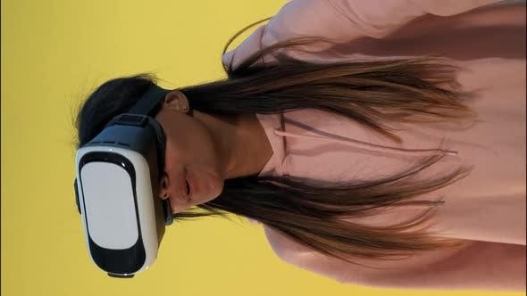 Multiracial Girl Using Virtual Reality Glasses