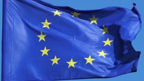 European flag waving in the wind