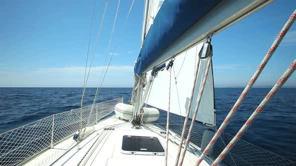 View of sailboat from deck on Adriatic sea