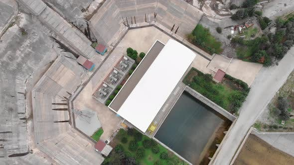 Top view of hydroelectric power station, Global warming