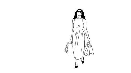 Dessiné à la main Shopping Fille