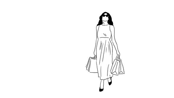 Hand Drawn Shopping Girl